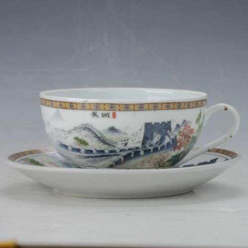 Chinese Colourful  Porcelain Hand Painted Great Wall Plate and Cup B789