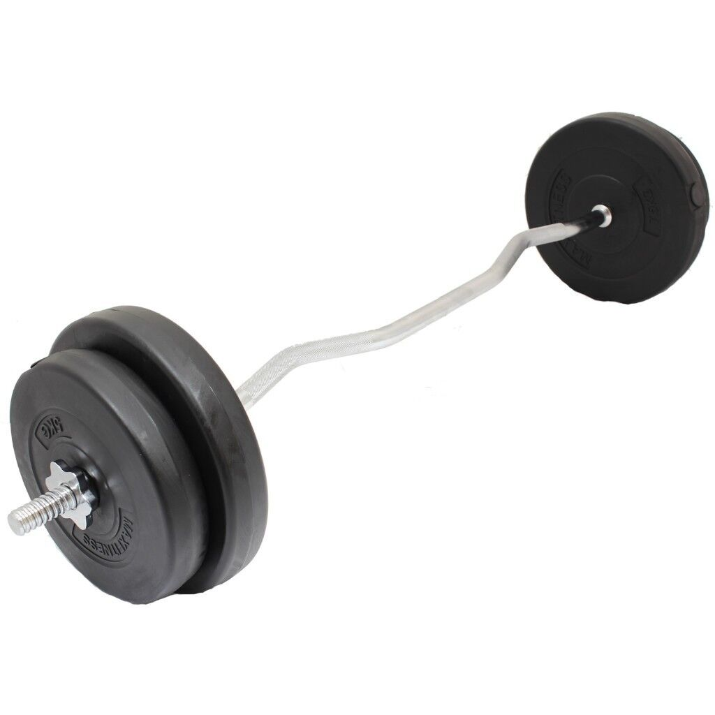 Curl Bar Weight Set From 23 Ez Training Vinyl Plates