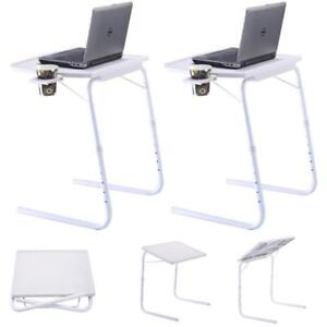 2 x Table Adjustable PC TV Laptop Desk Tray Home Office s/ Cup Holder White - BRAND NEW - FREE SHIPPING
