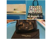RIVER ISLAND BEIGE PURSE, BLOOMINGDALES SHOPPING BAG, BLACK ARMANI BAG