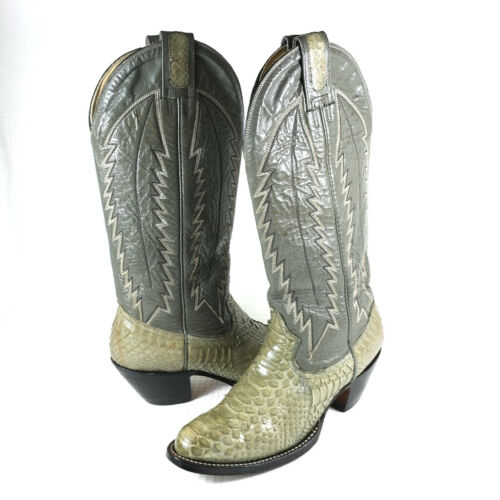 VTG, Montana, Western, Store, Snakeskin, Leather, Western, Cowboy, Boots, Mens, 5.5, D, Gray