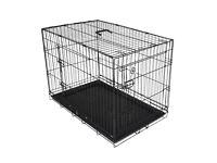 2 Door Medium Pet Cage Crate Carrier For Dogs Cats Black Metal