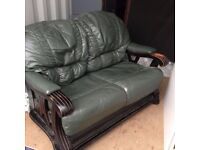 REDUCED!!!, STOCK CLEARANCE, FREE DELIVERY!! GREEN LEATHER SOFA