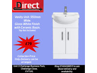 550mm and 650mm K-VIT Vanity Unit and Ceramic Basin.2 Door White gloss finish. Comes pre-assembled