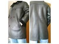 Genuine Ashwood double breasted sheepskin leather coat / fur coat / leather jacket /