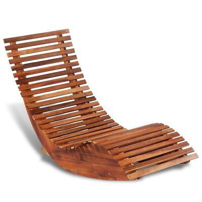 Rocking Sun Lounger Garden Patio Recliner Rocker Chair Bed Acacia Wood Rustic UK