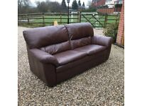 Brown leather sofa 2 1/2 seater