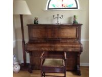 FREE ..Lovely piano with stool and lamp FREE to a good home