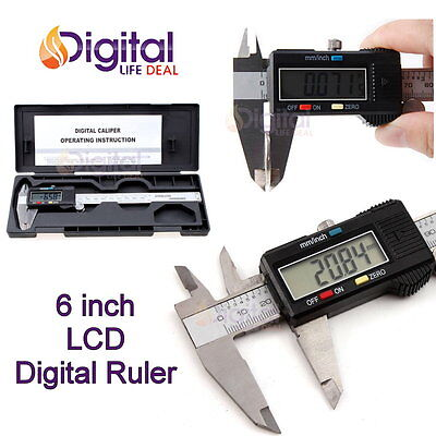 150mm 6inch Lcd Digital Electronic Gauge Stainless Steel Vernier Caliper Ruler