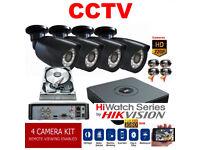 HD CCTV Security Camera Kit. Hikvision DVR, 4 x HD Cameras ,Hard Drive, Cables, Full Kit