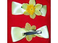 "St davids day daffodil hair clips 4 "" wide"