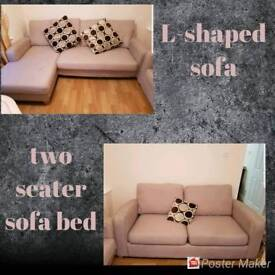 L-shaped sofa and one 2 seater sofa bed