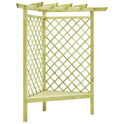 Corner Pergola with Seat Impregnated Pinewood Garden Patio Trellis Plants-Based