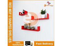 3 X NEW RED MDF U SHAPED GLOSS FLOATING SHELVES DVD BOOK STORAGE DISPLAY SHELF