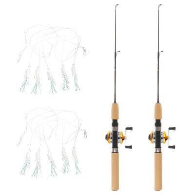 4pcs Telescopic Mini Fishing Pole 65cm Winter Ice Fishing Rods with Reel Line