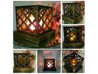 Vintage Traditional LED Glimmer Copper Effect Pattern Tealight Holder Rare Stunning