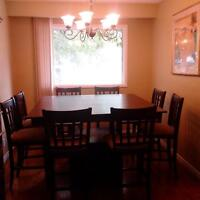 Beautiful Ebony Counter-Height Dining Room Table (9-Piece)