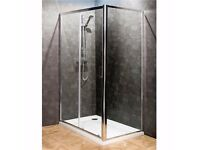 Bathroom Sliding Door Shower Enclosure. Tray, Side Panel and Waste.