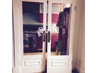 lovely pair of french doors - vintage, reclaimed, stripped painted - unfinished project