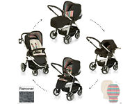 BRAND NEW HAUCK LACROSSE SHOP N DRIVE TRAVEL SYSTEM PRAM PUSHCHAIR CAR SEAT FR BIRTH WITH RAINCOVER