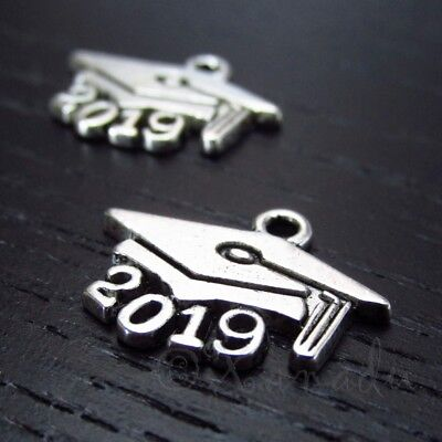 2019 Graduation Cap Mortarboard 19mm Silver Plated Charms C7116 - 5, 10 Or 20PCs - Graduation Charms