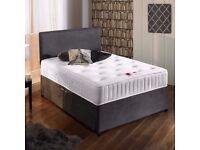 Single Double King/Super Size SuedeDivan Beds MemoryFoam Sprung Mattress With Headboard