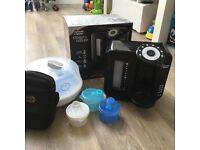 Tommee tippee prep machine, week old filter. Microwave steriliser, milk pots and bottle bag
