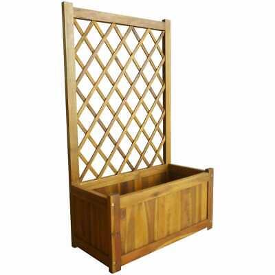 vidaXL Solid Acacia Wood Garden Raised Bed with Trellis Flower Raised Bed Pot