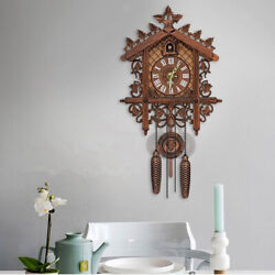 Antique Wooden Cuckoo Wall Clock w/ Pendulum for Bedroom Living Room Decoration