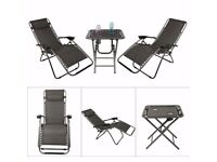 garden furniture set 2 recliner chairs and table new in box