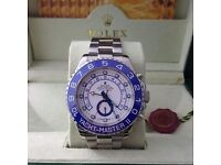 R9lex Yachtmaster II with Blue Bezel and White face Silver Bracelet Boxed With Paperwork