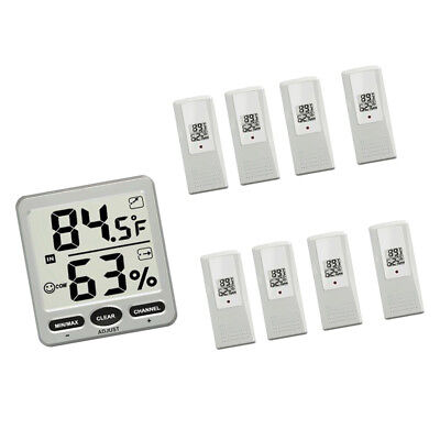Wireless Indoor/Outdoor 8-Channel Thermo-Hygrometer with 8 Remote Sensor