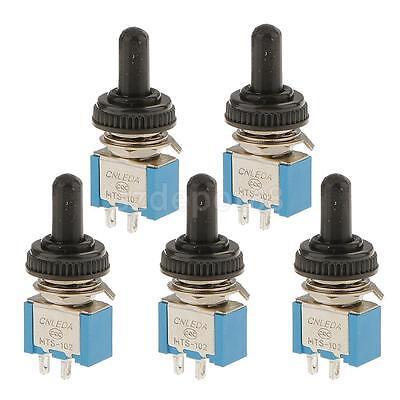 5pcs On Off Mini Toggle Switch Spst Miniature Waterproof Cover 2p Blue