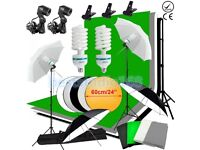 Photo Studio Continuous Lighting Kit Backdrop Umbrella Reflector Arm Boom Stand