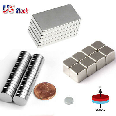 Usa 5-100pcs Neodymium Block Round Magnet N52 Super Strong Rare Earth Magnets