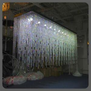 Custom Bespoke Large Black Rectangular Crystal Glass Chandelier Light Led 2m Ebay