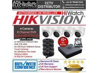 Hikvision 4 Cameras HiWatch Turbo-HD Full CCTV Kit: 8CH 2TB HDD DVR & 4x HD 1080P 2MP Dome Camera