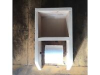 reclaimed timber toilet roll holder