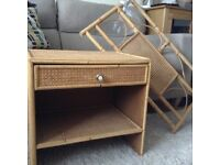 Rattan and bamboo bedside cabinet and single headboard