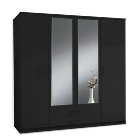 AMAZING OFFER**40%OFF**2 LARGE MIRRORS**BRAND NEW 4 DOOR WARDROBE WITH DRAWERS IN BLACK/WHITE COLORS