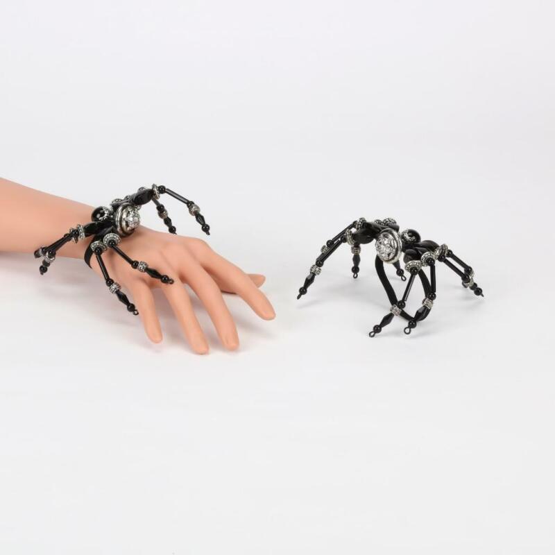 "Black Spider Bracelet Bead Silver Halloween Costume Wristlet 6"""