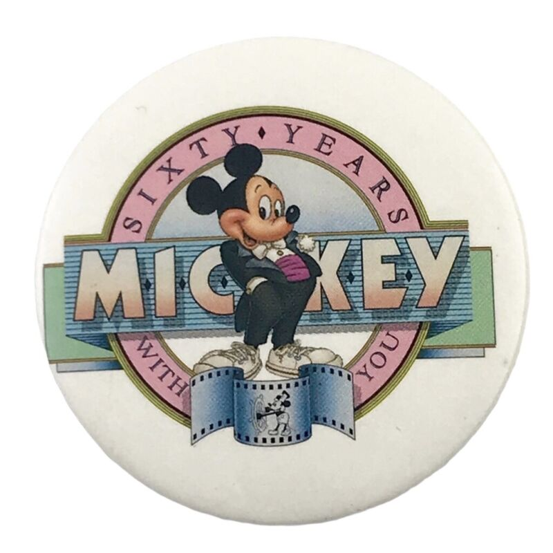 """Mickey Mouse Sixty Years with You 2"""" Vintage Pinback Button Walt Disney"""
