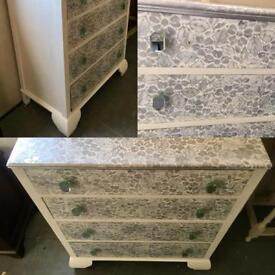 Vintage unique upcycled chest of drawers