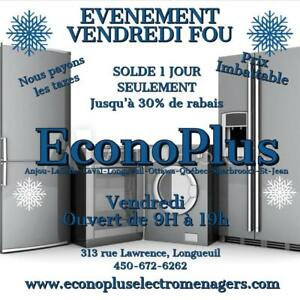 ECONOPLUS  LIQUIDATION LE PLUS GRAND CHOIX D' ENSEMBLE LAVEUSE SECHEUSE À PARTIR 449.99 TAXES INCLUSES