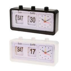 Retro Style Calendar Flip Alarm Clock - Day & Date Display - Black&White