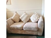 Sofa bed 2 seater, DFS, cream with pattern. Excellent condition with 3 cushions