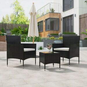 3 Piece Rattan Garden Furniture Table Set Chair Coffee Table Patio Outdoors