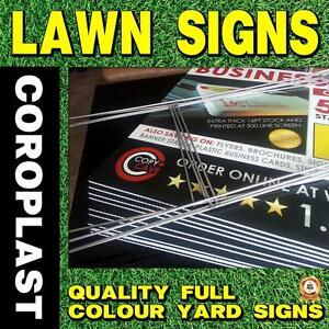 COROPLAST LAWN SIGNS / ELECTION SIGNS - CHEAP PRINTING SERVICES - ALL WEATHER / COLOUR YARD SIGNS WITH OPTIONAL H-STAKES