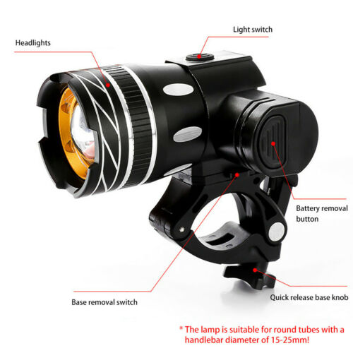 1500LM MTB T6 LED ZOOM USB Front Head Bike Bicycle Rechargeable light Back Lamp