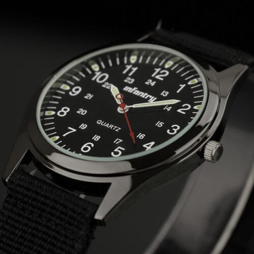 Mens Watches - INFANTRY Mens Quartz Analog Wrist Watch Luminous Black Nylon Army Military Sport